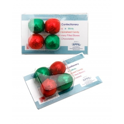 Business Card Clamshell with Chocolate Baubles (CPCNP54X_BBX_CHOC)