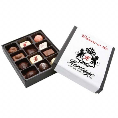 12Pc Belgian Chocolate Black Gift Box (CPBT12B_CHOC)