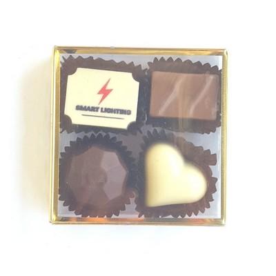 4pc Belgian Chocolate Truffle Box - GOLD STAMPED (CPBTG4_CHOC)