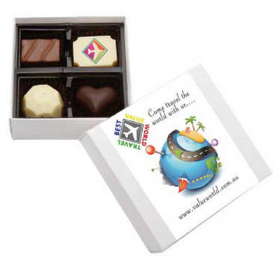 4Pc Belgian Chocolate White Gift Box (CPBTW4_CHOC)