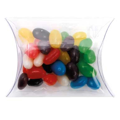 Clear Pillow Box with Mixed Mini Jelly Beans (CPCN09_MJB_CHOC)