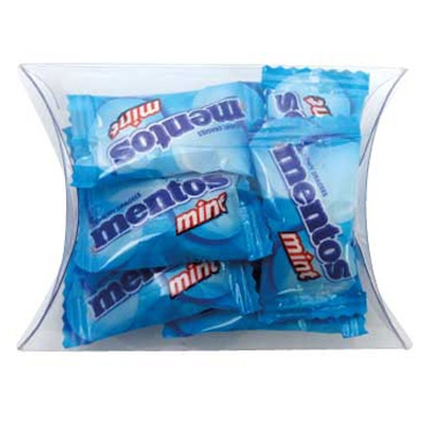 Clear Pillow Box with Mentos (CPCN09_MNT_CHOC)