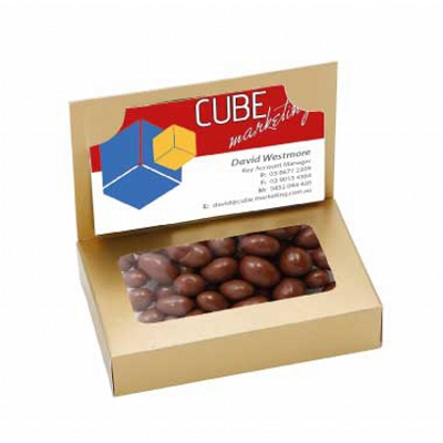 Business Card Box with Choc Coffee Beans (CPCNR45_CCB_CHOC)