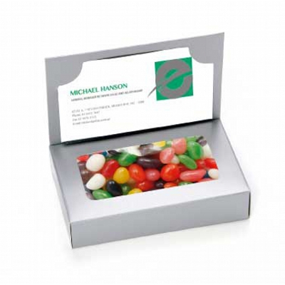 Business Card Box with Mixed Jelly Beans (CPCNR45_MJB_CHOC)
