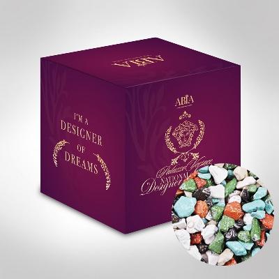 Custom Printed Mini Cube with Chocolate Rocks (CPCUS10_CRK_CHOC)