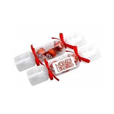 Clear Christmas Crackers with 3 X Lindor Balls (CCRK_LNDX_CHOC)