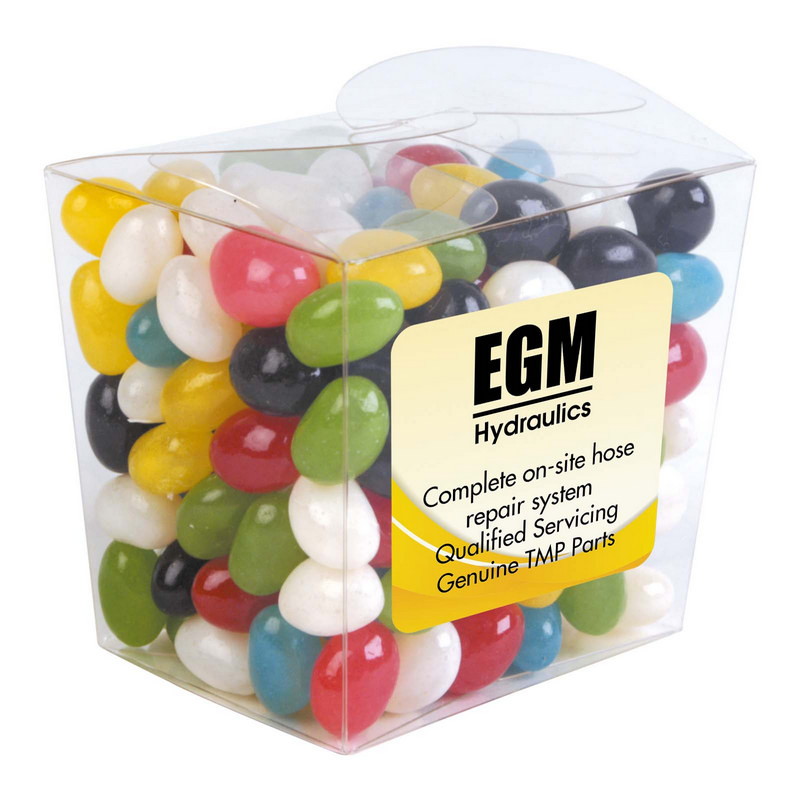 Assorted Colour Mini Jelly Beans in Clear Mini Noodle Box (LL3154_LLPRINT)