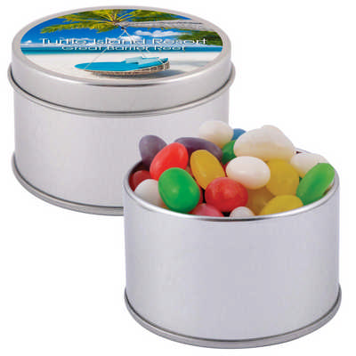 Assorted Colour Mini Jelly Beans in Silver Round Tin (LL3402_LLPRINT)