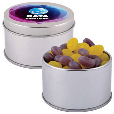 Corporate Colour Mini Jelly Beans in Silver Round Tin (LL3403_LLPRINT)
