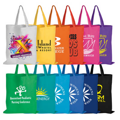 Coloured Cotton Double Short Handle Tote Bag - 140 GSM (LL509_LLPRINT)
