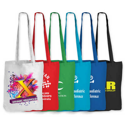 Coloured Cotton Double Long Handle Conference Bag - 140 GSM (LL510_LLPRINT)
