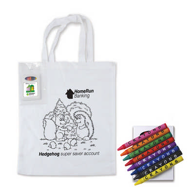 Colouring in Short Handle Cotton Tote Bag with Crayons (LL5520_LLPRINT)