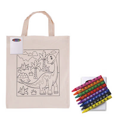 Colouring in Short Handle Calico Tote Bag with Crayons (LL5522_LLPRINT)