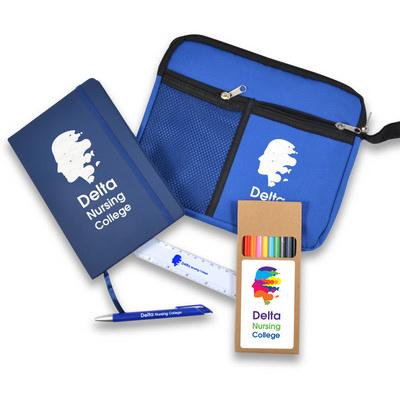Back To School Kit - Malibu Pouch, Argos Notebook, Virgo Pen, Ruler, Pencils (LL6002_LLPRINT)