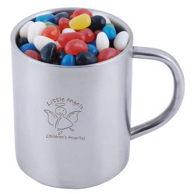 Assorted Colour Mini Jelly Beans in Double Wall Stainless Steel Barrel Mug (LL8623_LLPRINT)