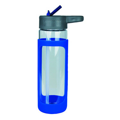 Sleeve Glass Drink Bottle with Sipper - Blue (4197BL_RNG_DEC)