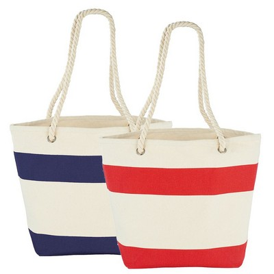 Capri Stripes Cotton Shopper Tote (5158BL_RG_DEC)
