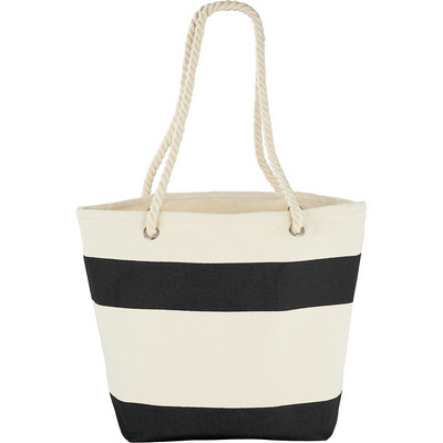 Capri Stripes Cotton Shopper Tote (5158BK_RNG_DEC)