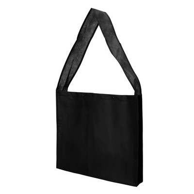 Non Woven Sling Bag - w/press studs and gusset (NWB20-BK_GL_DEC)