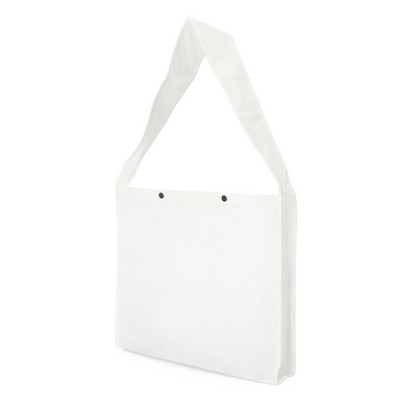 Non Woven Sling Bag - w/press studs and gusset (NWB20-WH_GL_DEC)