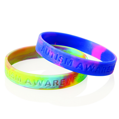 Multi Coloured Debossed Silicone Wristband (WB03_GL_DEC)