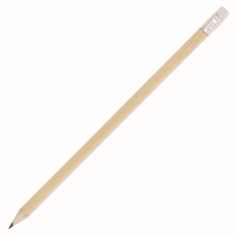 Natural Wood Sharpened Pencil w/Eraser (Z864A_GL_DEC)