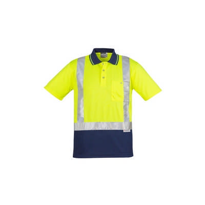 Mens Hi Vis Spliced Polo - Short Sleeve Shoulder Taped (ZH233_SYZM)