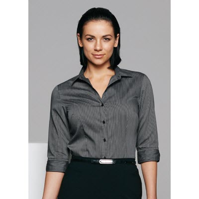 Ladies Henley Striped 3/4 Sleeve Shirt