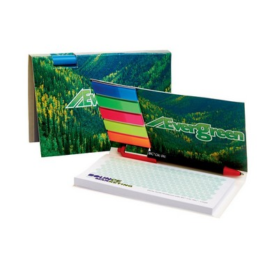 LARGE  BOOKET WITH ADHESIVE PAD, MYLAR FLAGS AND PEN