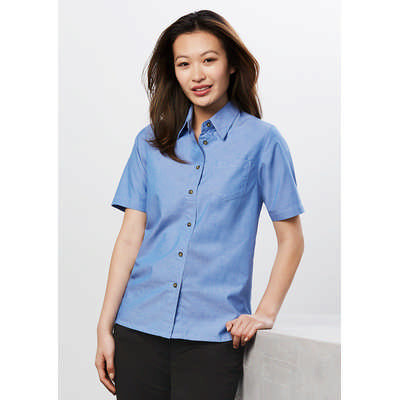 Ladies Wrinkle Free Chambray Short Sleeve Shirt (LB6200_BIZ)