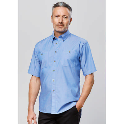 Mens Wrinkle Free Chambray Short Sleeve Shirt (SH113_BIZ)