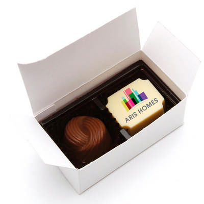 2pc White Chocolate Gift Box - (printed with 1 colour(s)) CPBTW2_BC
