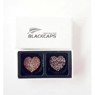 2pc White Chocolate Gift box with Premium Flavoured Printed Chocolate Heart  - (printed with 1 colour(s)) CPBTW2_PHRT_BC