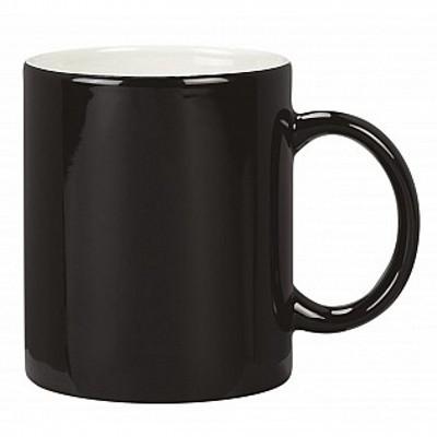 Colonial Ceramic Stoneware Mugs - black/white (400122BKWH_MAR)