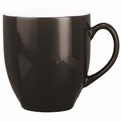 Colonial Ceramic Stoneware Mugs - black/white (400164BKWH_MAR)