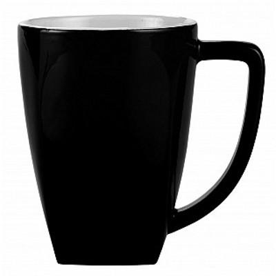 Colonial Ceramic Stoneware Mugs - black/white (400170BKWH_MAR)