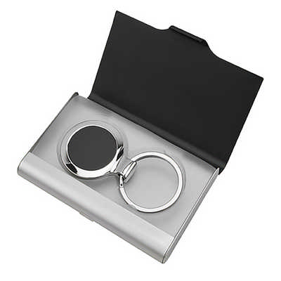Ebony Key Ring Business Card Holder Set (KRO004_DEX)