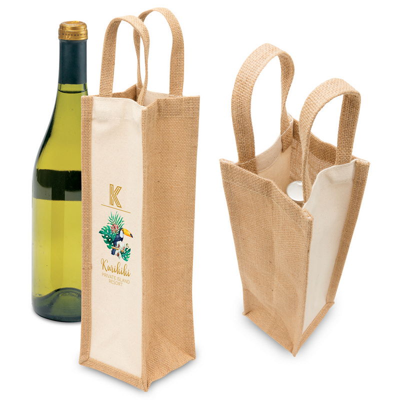 Eco Jute 1 Bottle Wine Bag (1195_LEGEND)