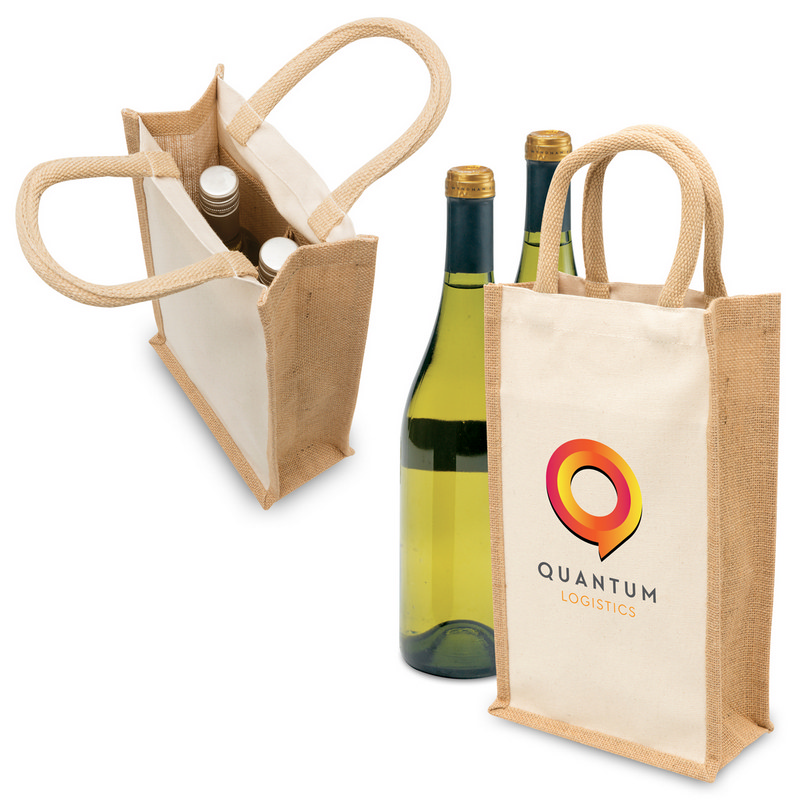 Eco Jute 2 Bottle Wine Bag (1196_LEGEND)
