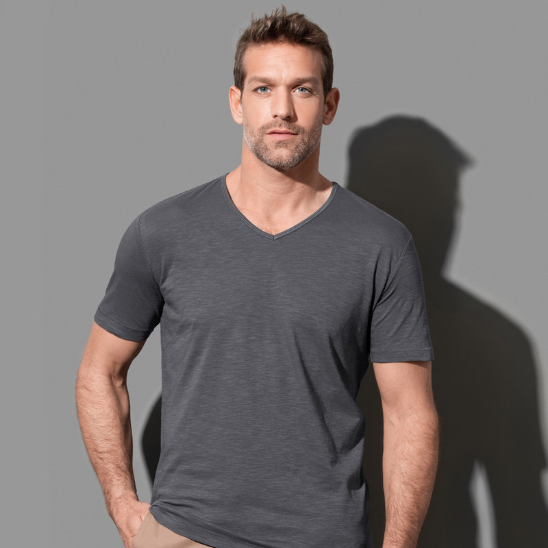 Men`s Slub V-Neck (ST9410_LEGEND)