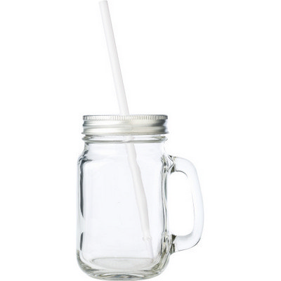Glass mason drinking jar with handle (5964_EUB)
