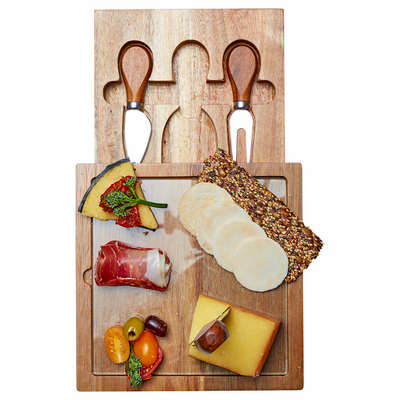 Braemar Glass Cheese Board & Knife Set - (printed with 1 colour(s)) D387_PB