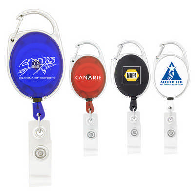 Retractable Badge Holder with Carabiner Clip  - (printed with 1 colour(s)) K306_PB