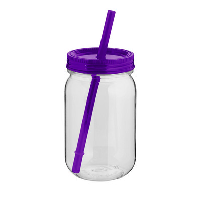 JAR03 Mason Jar With Coloured Lid And Straw - (printed with 1 colour(s)) JAR03_OC