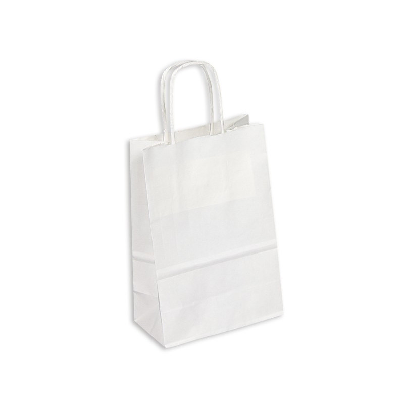 PAPB01KWS Kraft Paper Bag White Small Includes Twisted Paper Handle - (printed with 1 colour(s)) PAPB01KWS_OC