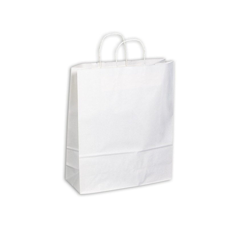 PAPB01KWXL Kraft Paper Bag White Extra Large Includes Twisted Paper Handle - (printed with 1 colour(s)) PAPB01KWXL_OC