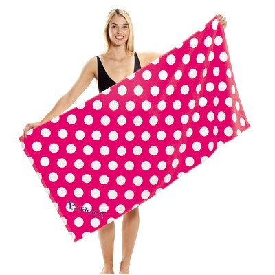 Polka Dot Terry Velour Beach Towel (BTL-20_QZ)