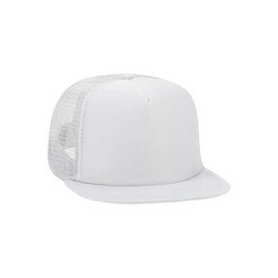 White Half Mesh Trucker Cap