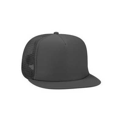 Black Half Mesh Trucker Cap