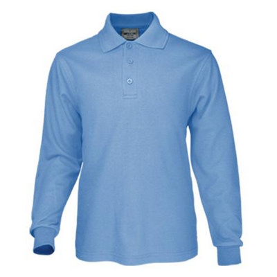 Kids Plain Colour Poly Face Cotton Backing LS Polo (CP1605_BOC)